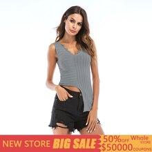 Casual V Neck Asymmetric Tank Top Women Crochet Knitted Sleeveless Solid Tank Top Women Slim Summer Vests Tops Mujer Verano 2019