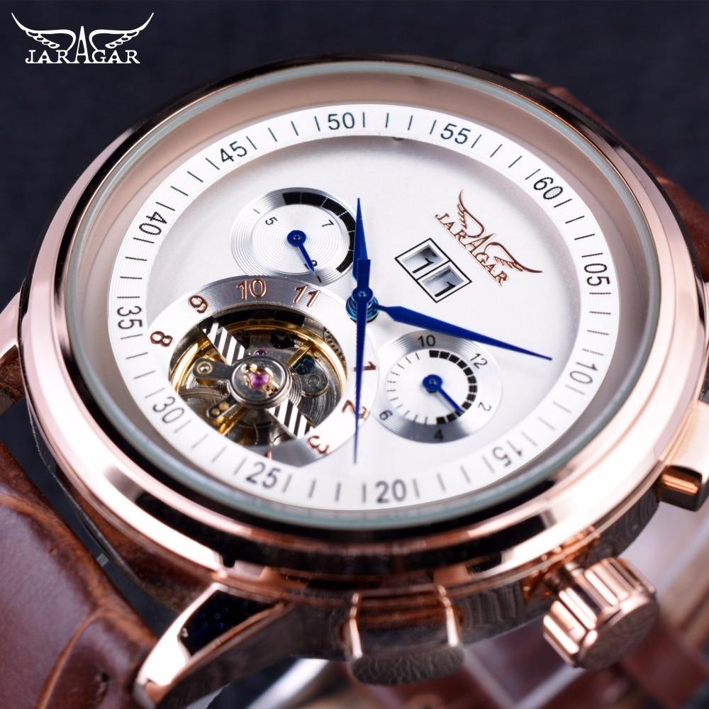 Jaragar Classic Racing Series Rose Gold Bezel Wrist Watch Tourbillion Men Watch Top Brand Luxury Male
