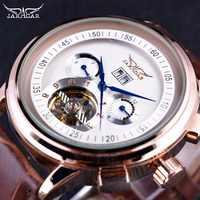 Jaragarクラシックレーシングシリーズローズゴールドベゼル腕時計トゥールビヨンメンズ腕時計トップブランドの高級男性自動機械式時計