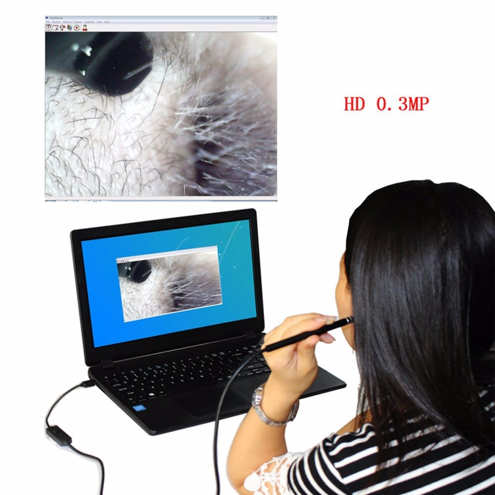 HD Pen Endoscope Inspection Snake Tube Pipe Camera 0.3MP High Definition Visible Ear Spoon For Ear Cleaning for Laptop Phone