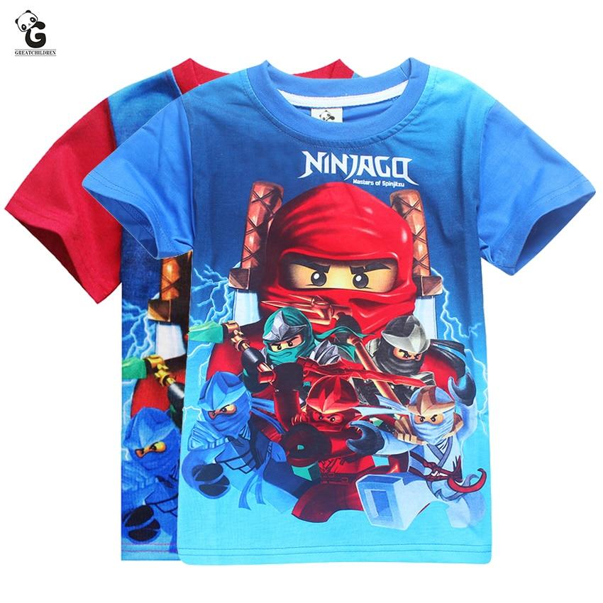 Boy Shirt Costume Ninja-Tops Kids Clothes Blue for Tees