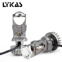 LYKAS H4 Bi LED Projector Lens LED Conversion Kit High Low Beam Car Headlight Bulbs 5500K White 12V 24V