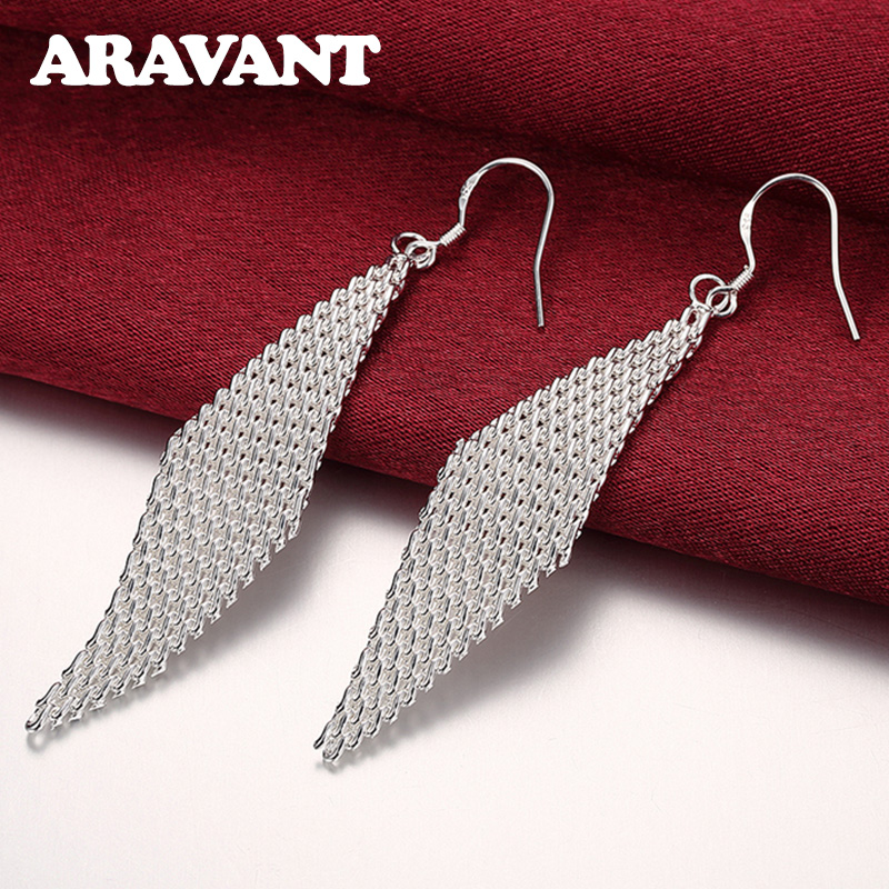 925 Silver Weave Long Drop Earrings For Women Wedding Party Silver Pendientes Jewelry Gift