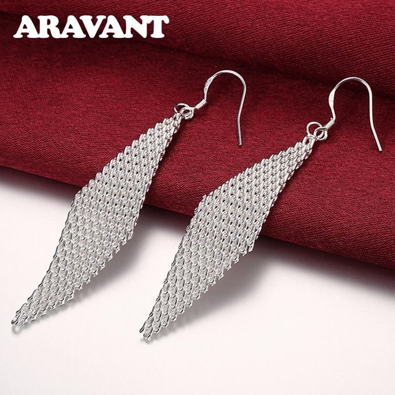 925 Silver Weave Long Drop Earrings For Women Wedding Party Silver Pendientes Jewelry Gift