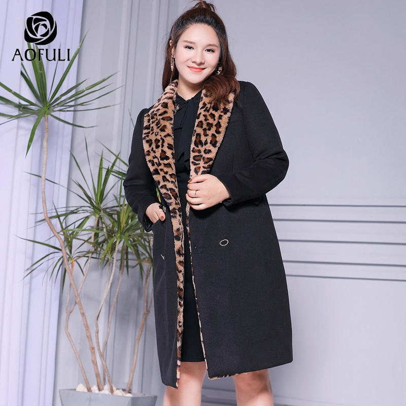 AOFULI XXXXXL Leopard Long Winter Coat Fur Turn down Collar X long Black Tops Double Breasted