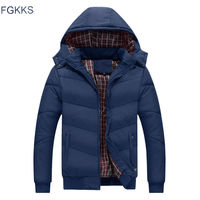 FGKKS Men Hooded Casual Warm Parka Jacket Winter Cotton Parka Waterproof Windproof Slim Fit Coat Male Parka Brand Coats