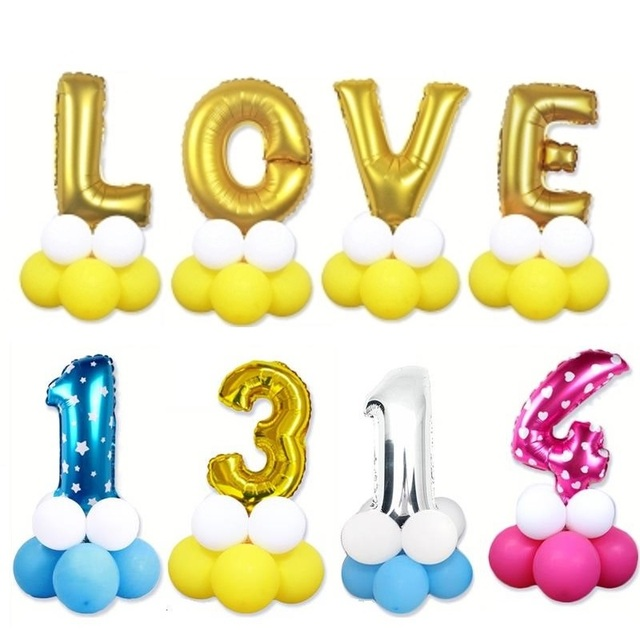 13pcsset column road lead number foil letter balloons baby birthday wedding party decoration inflatable