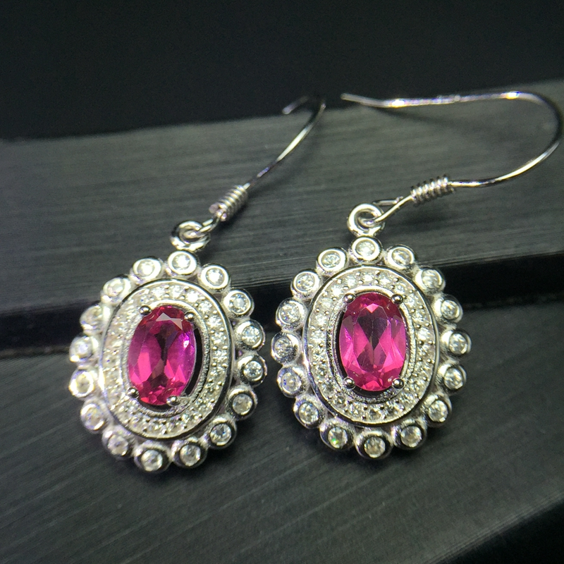 Tested Natural Pink Topaz Drop Earrings for Women 4 6mm 925 Sterling Silver Fine Jewelry with