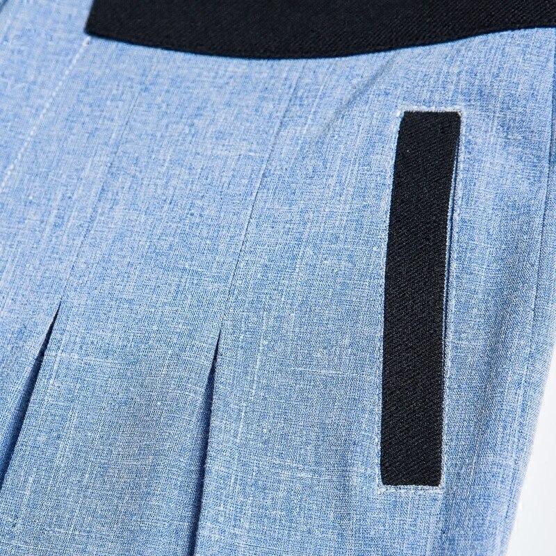 Droite Pantalon Jambe Élégant Ol Long Style Femmes Ciel Plissée Avec Taille Glissière Lâche Large 2018 Plat Pu Couleur Haute Bloc q7WZtPn1