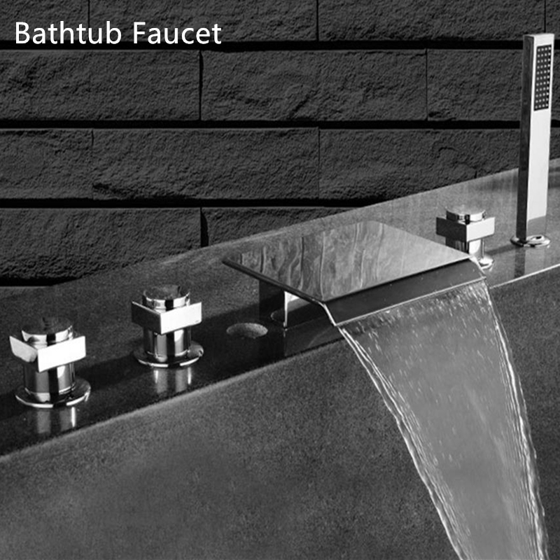 Sanitary Ware Bathtub Faucet Waterfall Spray Tap 3 Handle Control With Bath Shower Accesssories Faucet Mixer Tap Brass Chrome china sanitary ware chrome wall mount thermostatic water tap water saver thermostatic shower faucet