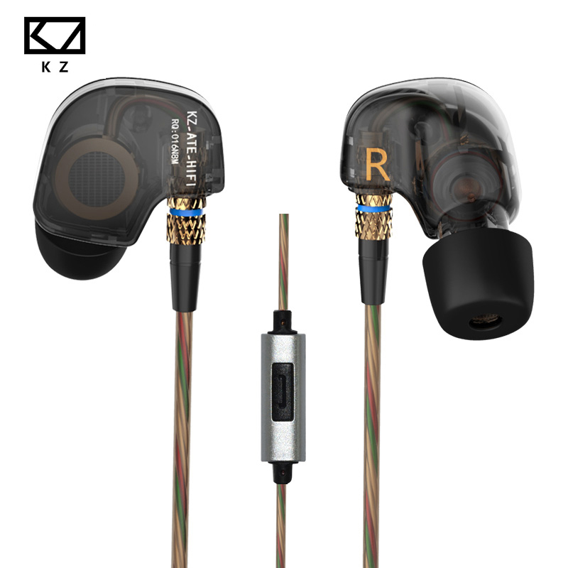 Original KZ ATR Earphone Inear Sports Headsets HIFI music Earbuds With Mic Noise Canceling gaming headset cellphone earphones original kz ate s in ear earphones hifi kz ate s stereo sport earphone super bass noise canceling hifi earbuds with microphone