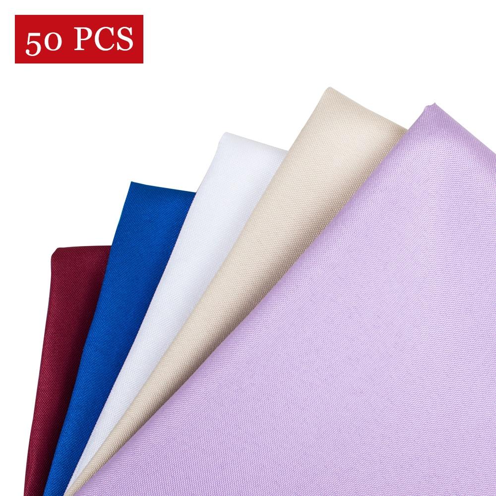 50PCS 19Inch Hotel Wedding Napkins White Decoration Polyester Dining Table Napkin Plain Dyed Handkerchief Cloth 48CM Wholesale