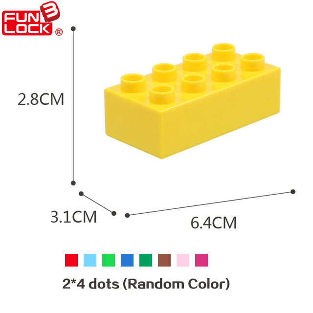 Funlock Duplo Building Blocks Construction Toys Assembly Parts 12pcs 2x4 High Dots Building Accessories Bricks for Children Kids funlock duplo blocks toys farm animal figures bunny cat dog cow pony pig sheep rooster educational toys for kids gifts