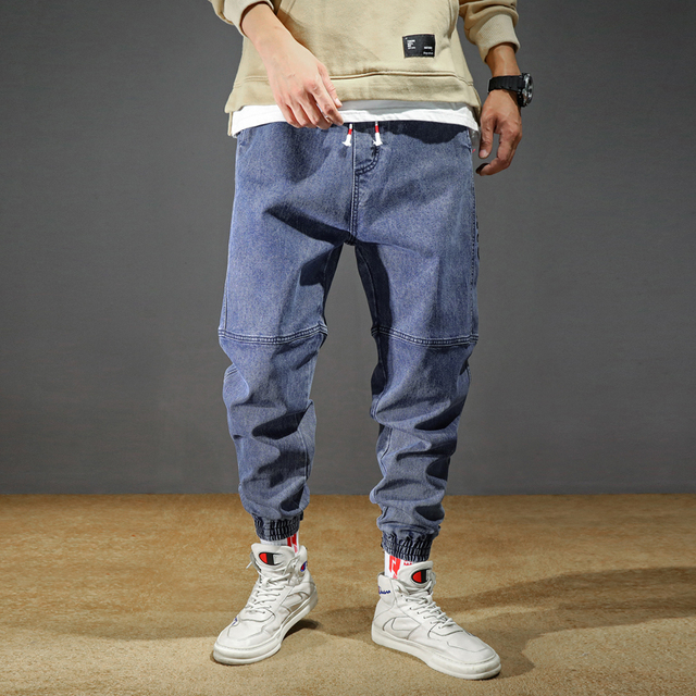 Men's Jeans Plus Size Stretchy Loose Tapered Harem Jeans Cotton Breathable Denim Jeans Baggy Jogger Casual Trousers 42 Jeans 4