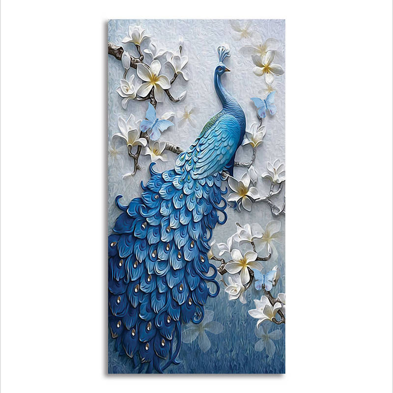 Not Framed Canvas Print Wall Art Pictures Home Decor Blue Peacock Poster Animals
