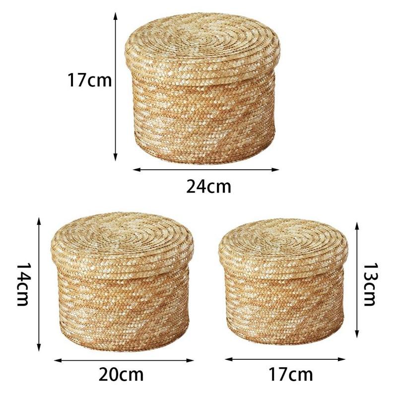 3 Pcs/Set Handmade Straw Woven Storage Basket With Lid Snack Organizer Storage Box Laundry Baskets Rattan Storage Flower Baske 3