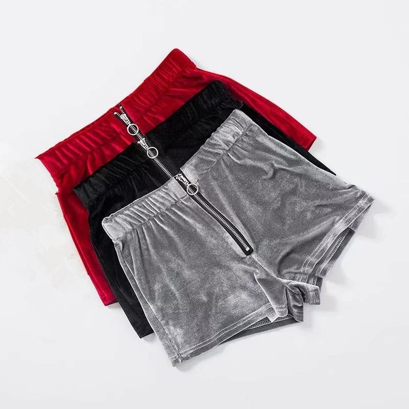 Velvet Shorts Summer Sexy Retro Women Shorts Female Casual Slim Punk Zipper Club Beach Punk Shorts