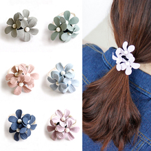 LNRRABC Hot Sale 6Colors Cloth Flower Shape Hair Rope Popular Women Girls Rubber Elastic Bands Korean Fashion Ring
