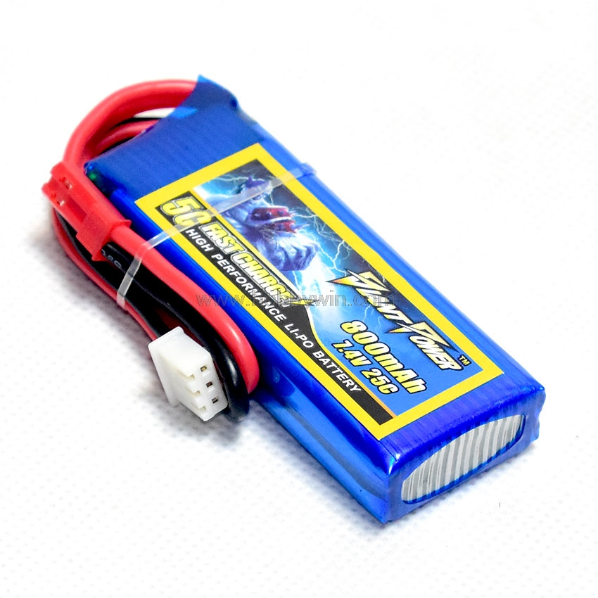 <font><b>7.4V</b></font> 2S <font><b>800mAh</b></font> 25C LiPO <font><b>Battery</b></font> JST plug for RC Helicopter Model Airplane FPV Drone Multirotor Aircraft image