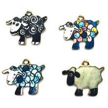 100 шт. 17*21 м милые корейские самодельные ювелирные изделия с эмалью и печатью, сплав золотого цвета, овцы, баранины, подвески для браслета CH0085