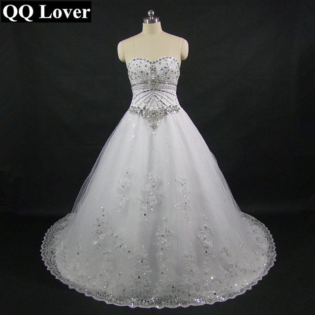 Online Shop QQ Lover New Luxurious Sparkling Diamond Bling Wedding - Bling Wedding Dresses