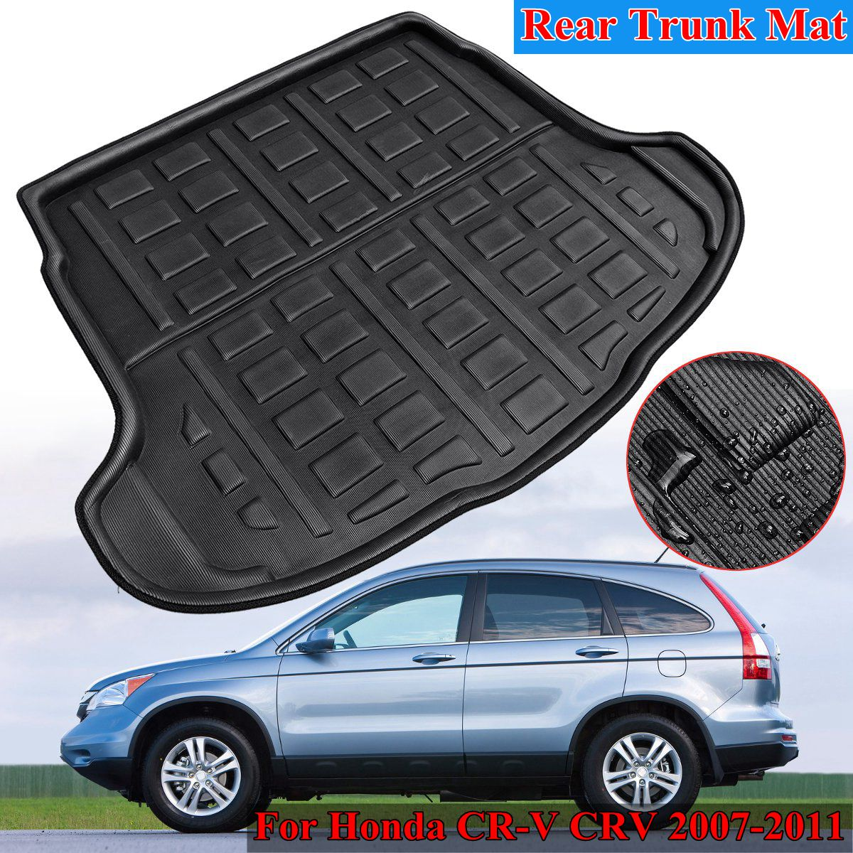 Rear Cargo Boot Liner Trunk Floor Mat Tray Carpet Mats Mud Kick For Honda for CR-V CRV 2007 2008 2009 2010 2011 PE+EVA auto floor mats for honda cr v crv 2007 2011 foot carpets step mat high quality brand new embroidery leather mats