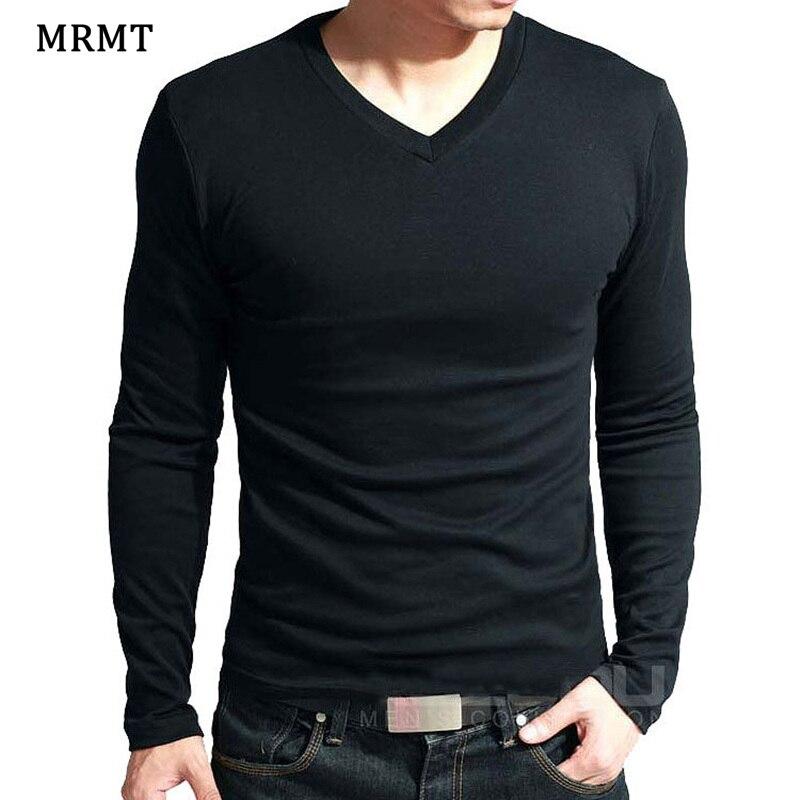 2019 Elastic Mens T-Shirt V-Neck Long Sleeve Men T Shirt For Male Big Size Lycra And Cotton TShirt Business Man Tees(China)