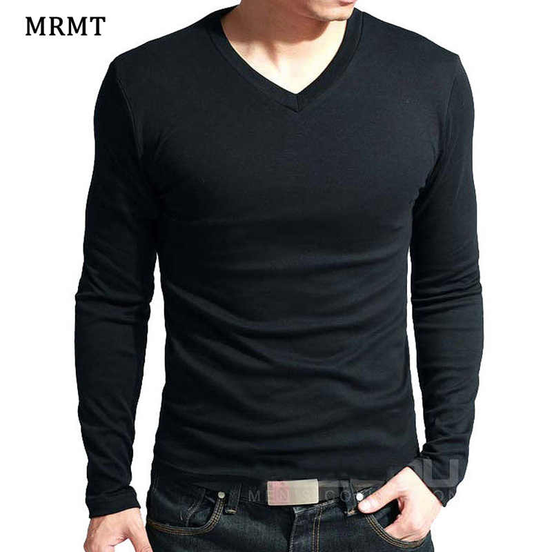 2019 Elastic Mens T-Shirt V-Neck Long Sleeve Men T Shirt For Male Big Size Lycra And Cotton TShirt Business Man Tees