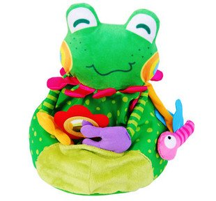 Candice guo! Cute baby toys plush green frog two sides smile and cry baby dont cry hand hold 1pc