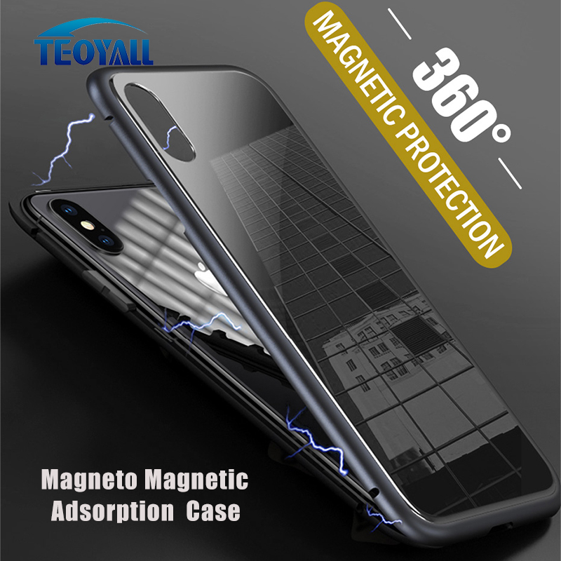 TeoYall Magneto Magnetic Adsorption Aluminum Bumper for iPhone 7 8 PLUS X Case Tempered Glass Back Cover for iPhone 6 6s 8 7PLUS