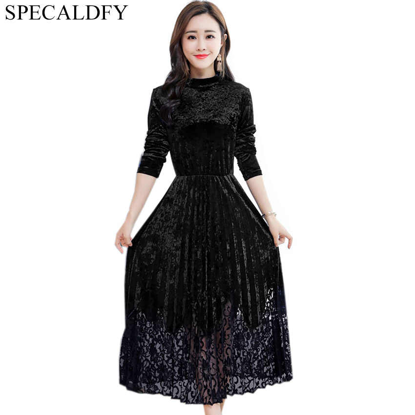 5b54f56a43 Detail Feedback Questions about 5XL Women Green Black Velvet Dress ...