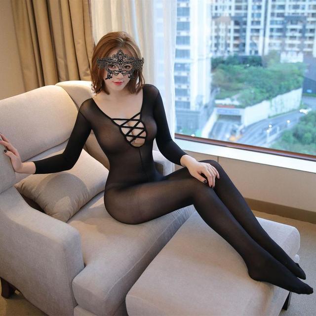 Mujeres Sexy red entrepierna abierta de las mujeres monos de malla de Ropa interior negro Bodi erótico ropa de dormir peluches sin entrepierna 203