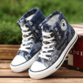 Hot Sale Men Shoes Casual Canvas Shoes man Fashion  Shoes Men High Top Flats Zapatos Mujer Chaussure Homme Black & Blue