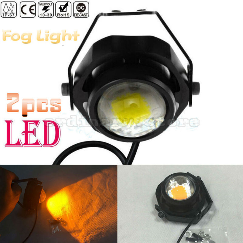 2pcs Bright Amber Color COB LED Car 4WD Truck Offroad SUV ATV Bar Boat Work Light Headlight Driving Fog Night Lamp Floodlight