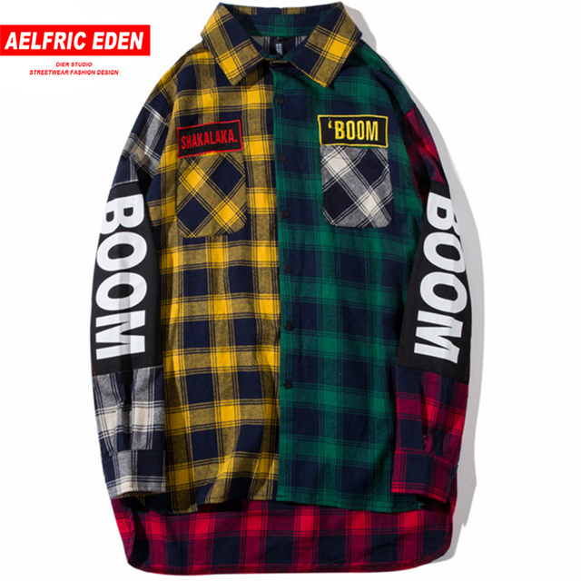 5f0961575cef Aelfric Eden Color Block Patchwork Plaid Long Sleeve Shirts Men Hip Hop  Casual Pocket Button Up Shirts Fashion Streetwear OF002