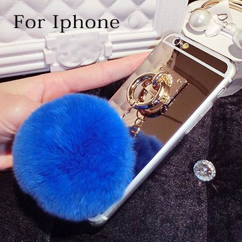 New Lady Mirror Fur Case For Iphone 5s Fundas Rabbit Fur Ball Tassels Metal Ring Cases Girly Lady Coque Cover For Iphone 5+Gift