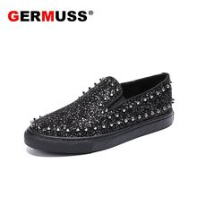 Fashion Luxury Brand Red bottom Sequins men shoes Casual Bar Handmade Microfiber and Flock Slip on Studded Spikes Flats Shoes