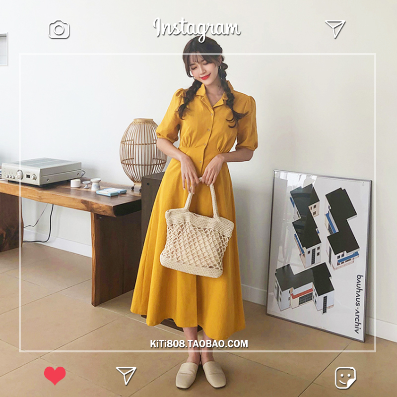Retro Lady Style a Line Long Dress Puff Sleeve Slim Waist Long Dress Summer Elegant Robe Longue Vestido Largo Vestiti Lunga 2