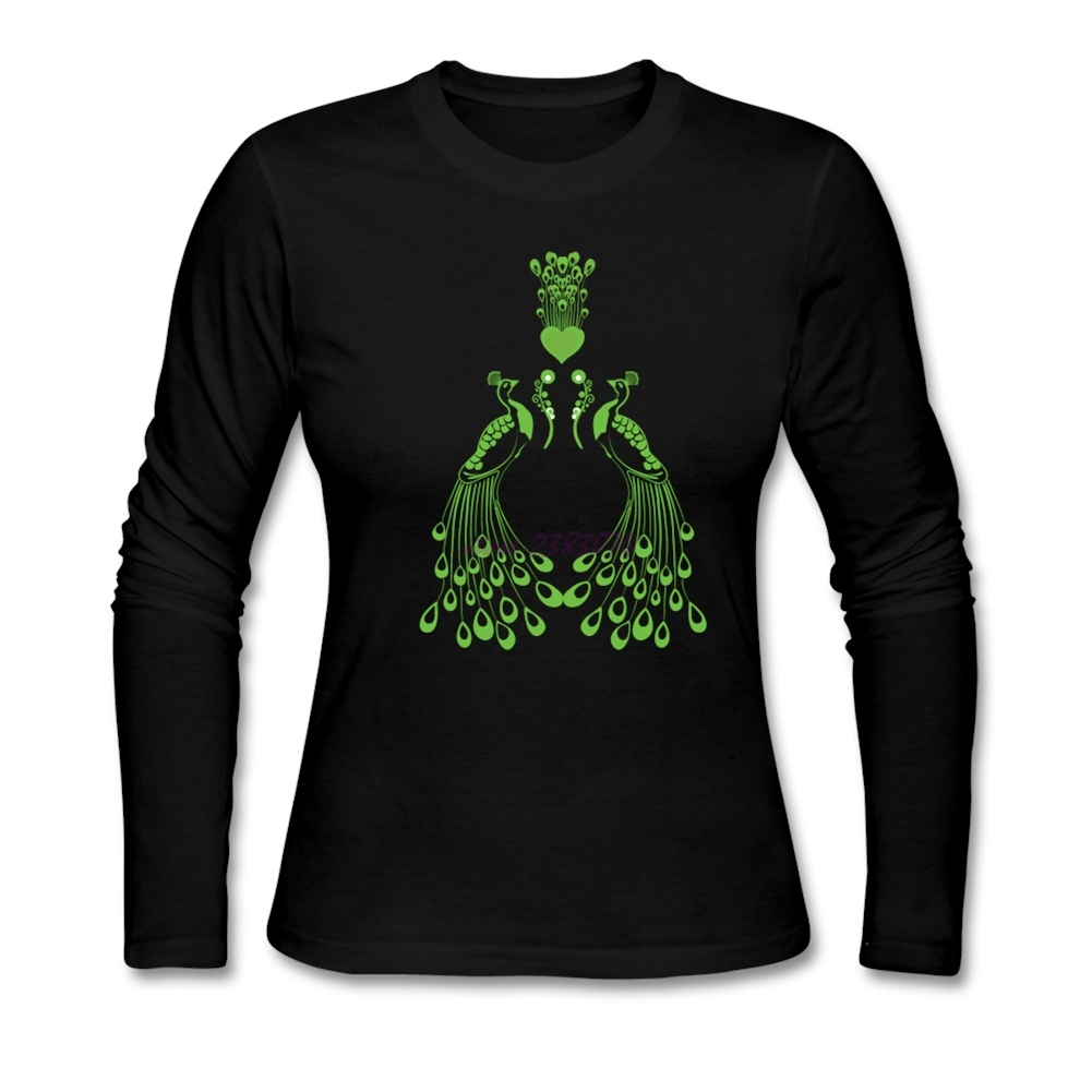 Shirt design ink - Delicate Long Sleeves T Shirts Peacock Love Design Old Women Cotton Round Collar Printed With Environmental