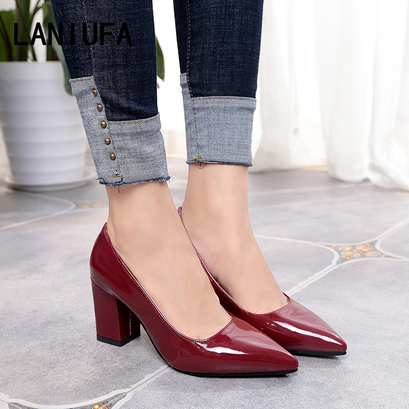 High Heels Women Shoes Women Pumps Lady  Pointed Toe Patent Leather Casual Single Thick Heels Dress Shoes Sandals Female #239