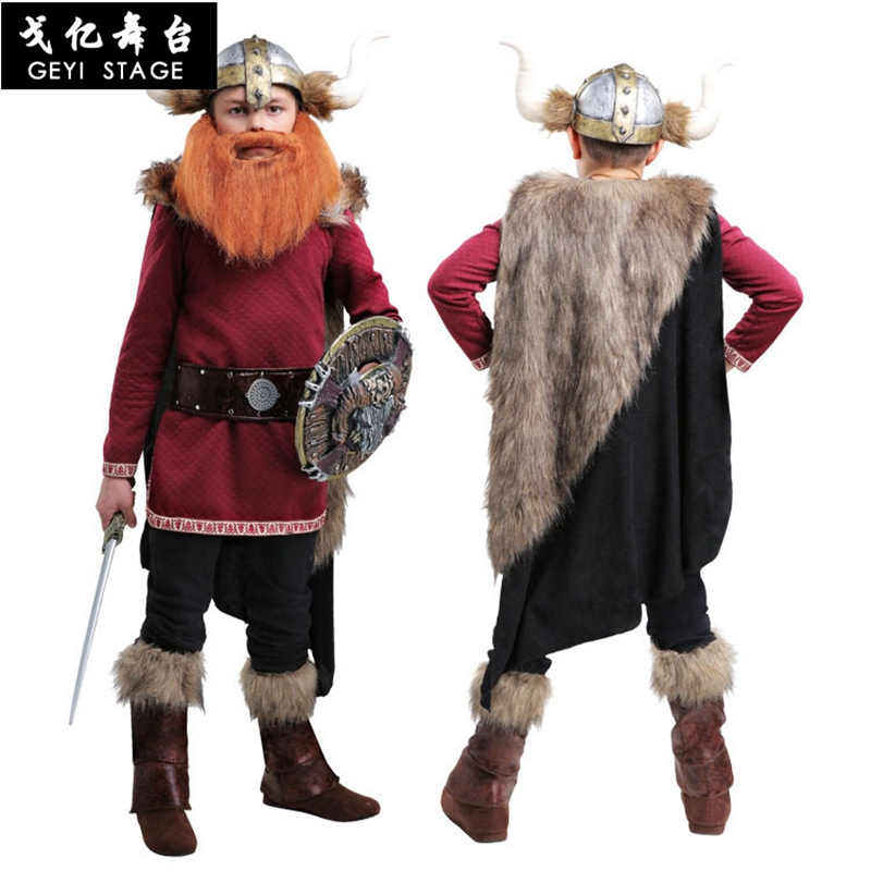 New Kid Boys Halloween Party Burgundy Pirate Snowfield Hunter Costumes Outfit Fancy Viking Warrior Cosplay Fantasy Clothing