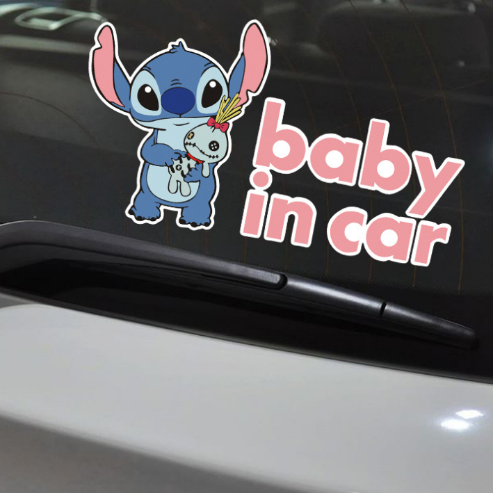Car Stickers Stitch Lilo Baby In Car On Board Cartoon Lovely Creative Decoration Reflective Windshield Auto Tuning Styling D10(China)