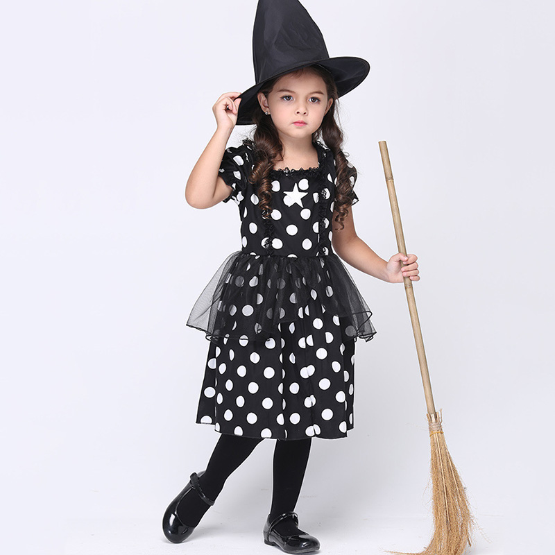 ФОТО New Design Kids Halloween Costume Girls Witch Cosplay Outfit Children Carnival Party Festival Fancy Dress with Hat