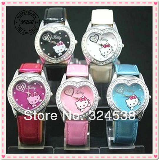 HK025 NEW lovely HELLO KITTY Heart Crystal Stone Girls Children Quartz Wrist watch