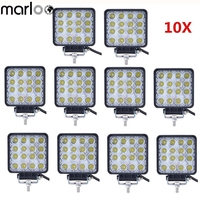 Marloo 48W Led Work Light 4 Inch Square Offroad Light 12V 24V Driving Lights For Jeep