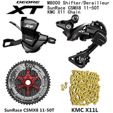 Shimano conjunto de bicicleta deore xt m8000, para mtb, mountain bike, 1x11 velocidade 46t 50t sl + rd + csmx8 + x11.93 m8000 alavanca de câmbio desviador traseiro