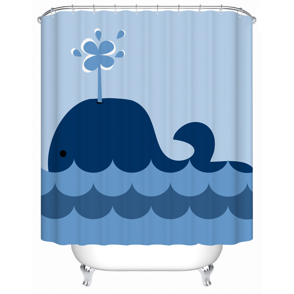 CHARMHOME Cute Little Whale Waterproof Shower Curtain