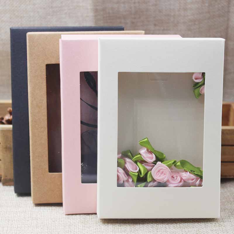 2018 Deluxe multi color paper gift package& display box with clear pvc window candy favors arts&krafts display package box 10pcs