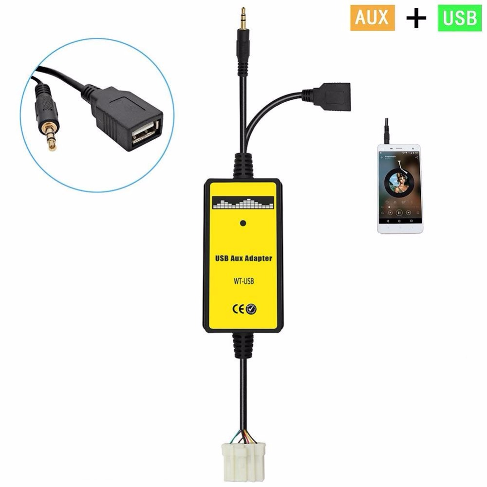 VEHEMO Car Stying USB Mp3 3.5mm Aux in Adapter Audio Cable MP3 Player Radio Input Interface For Miata RX8 MX5 MPV Audio Adapter