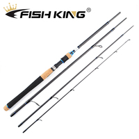 FISH KING Fishing Rod 2.1m 2.4m 2.7m 4 Section Carbon Spinning Lure Fishing Rod 5 20g/10 30g/15 40g For Squid Pike Fishing pole